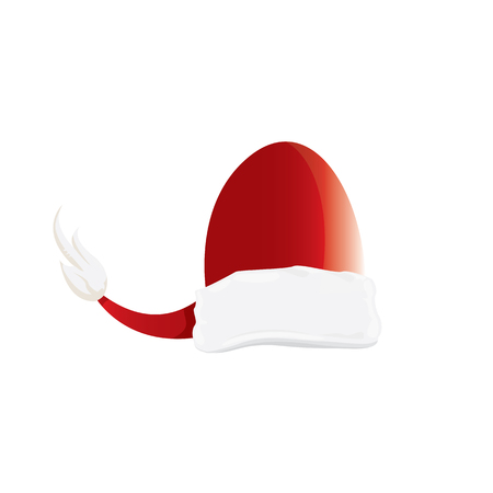 vector cartoon funky red Santa hat icon isolated on white. merry christmas santa hat design element for banners or greeting cards