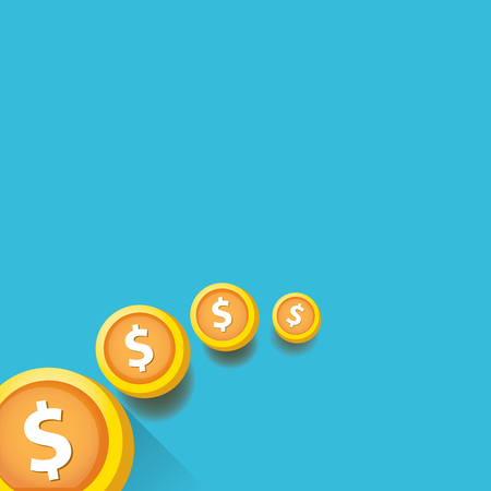 us coin: abstract business background with falling golden coins. flying coins vector background