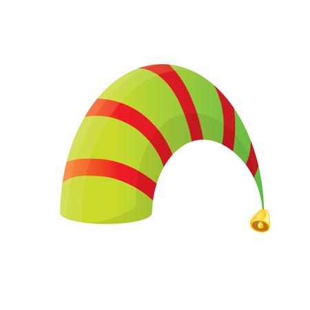 enano: de dibujos animados vector de Navidad despojado sombrero del duende rojo y verde aislado en blanco. ilustración vectorial
