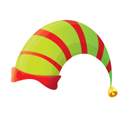 santa s elf: red and green stripped cartoon christmas vector elf hat isolated on white. vector illustration Illustration