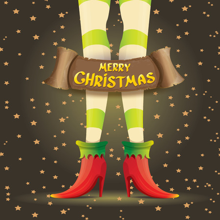 knee sock: vector creative merry christmas greeting card with cartoon elf girls legs, christmas lights stars and golden greeting christmas calligraphic text on old vintage paper banner ribbon. Illustration