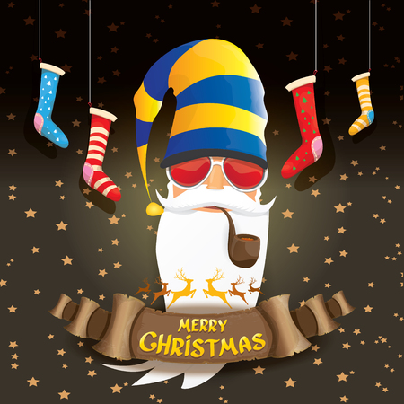 vector bad rockstar rock n roll dj santa claus with smoking pipe, funky beard and golden greeting calligraphic text on old vintage paper banner ribbon.. Christmas party hipster poster background . Ilustrace