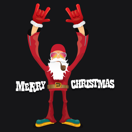 indie: vector rock n roll santa claus with smoking pipe, beard and funky santa hat. Christmas hipster poster for party or greeting card.
