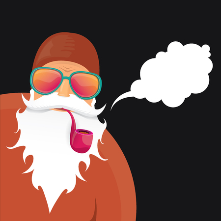 vector rock n roll santa claus with smoking pipe, beard and funky santa hat. Christmas hipster poster for party or greeting card.