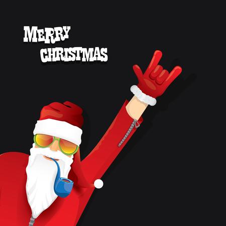 vecteur rock n roll père noël avec pipe, barbe et funky chapeau de père Noël. Affiche de hippie de Noël pour partie ou carte de voeux.