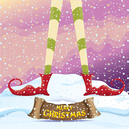 elf's: vector creative merry christmas greeting card with cartoon elfs legs on snowy north pole with christmas lights and greeting calligraphic text on old vintage paper banner ribbon.