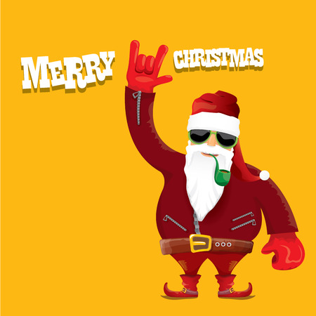 smoking pipe: vector biker santa claus with smoking pipe. Christmas hipster poster for party or greeting card.