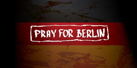 christmas market: vector Pray for Berlin concept . Tribute to victims of terrorism attack at Berlin Christmas Market , December 19, 2016 Illustration