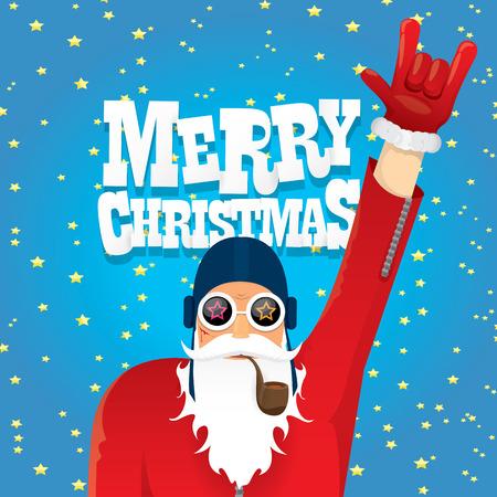 vector rock n roll Kerstman met pijp, baard en funky kerstmuts. Kerstmis hipster affiche voor partij of wenskaart.