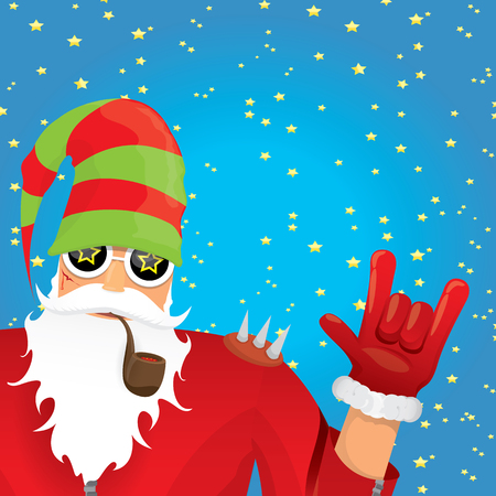 rock n: vector rock n roll santa claus with smoking pipe, beard and funky santa hat. Christmas hipster poster for party or greeting card.