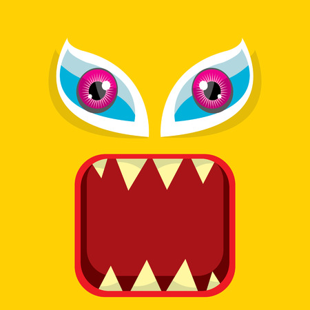 vector orange funny monster face. Illustration