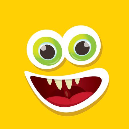 funny monster: vector orange funny monster face. Illustration