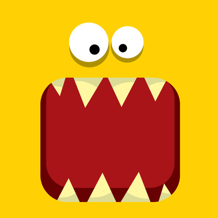 vector orange funny monster face. Stock Photo