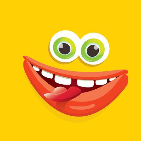 eccentric: vector orange funny monster face. Illustration