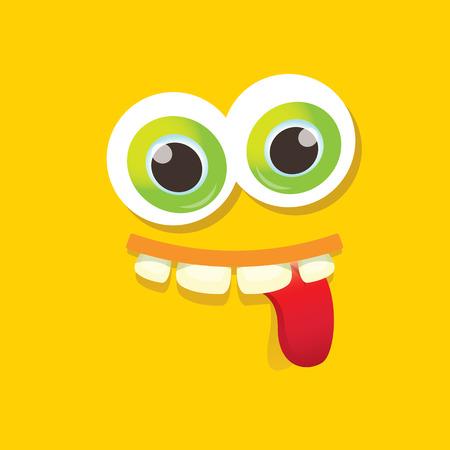 funny monster: vector orange funny monster face. Stock Photo