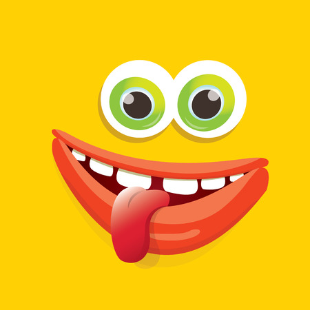 halloween tee shirt: vector orange funny monster face. Stock Photo