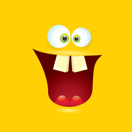 halloween tee shirt: vector orange funny monster face. Illustration