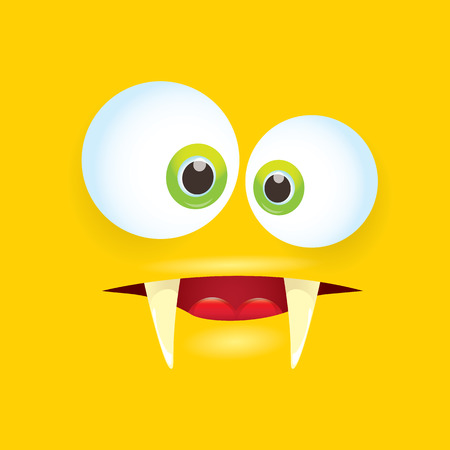 halloween tee shirt: vector orange funny comic monster face. Illustration
