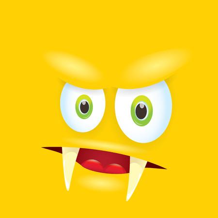 vector orange funny comic monster face. Illustration
