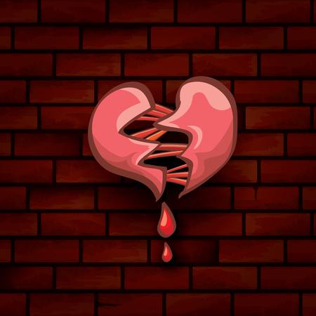 vector cartoon tattoo style red broken heart Illustration