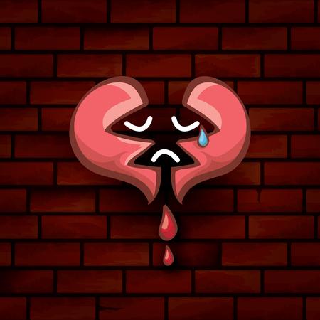vector cartoon tattoo style red broken heart Stock Photo