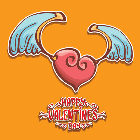 vector valentines day cartoon style heart label