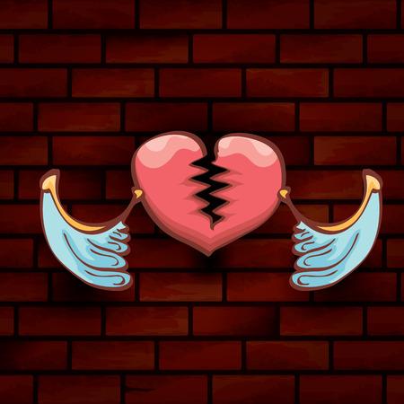 vector cartoon tattoo style red broken heart Vectores