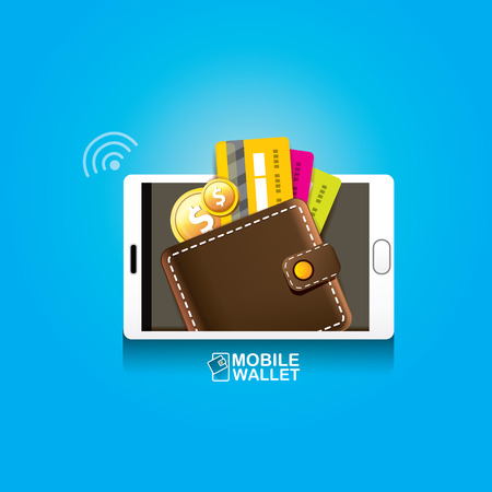 vector digital mobile wallet vector concept icon.
