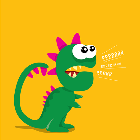 Vector cartoon funny dragon. Cartoon Dinosaur.