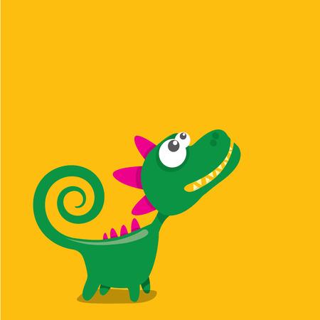 Dragon drôle de dessin animé de vecteur. Dinosaure de dessin animé Vecteurs