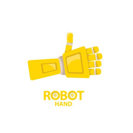 cybernetics: vector robotic arm symbol. robot hand.