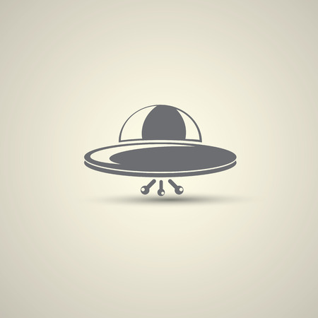 unidentified flying object: Ufo flying saucer vector icon Stock Photo