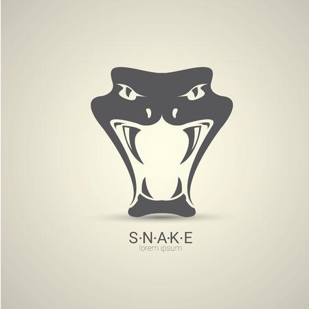 year of snake: vector angry dangerous snake logo design