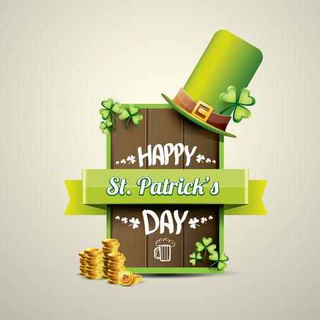 clover buttons: vector happy saint patricks day label