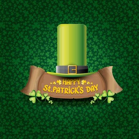 clover buttons: vector happy saint patricks day label or poster with green hat, lucky clovers and vintage wooden board isolated on background.