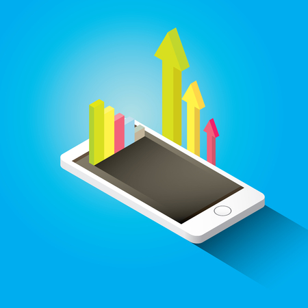 big screen: Vector isometric Smartphone with graph and charts Illustration