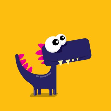 Dragon drôle de dessin animé de vecteur. Dinosaure de dessin animé