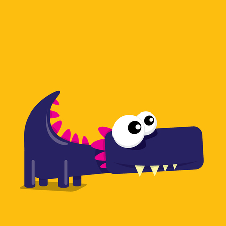 Vector de dibujos animados divertido dragón. Dinosaurio de dibujos animados.