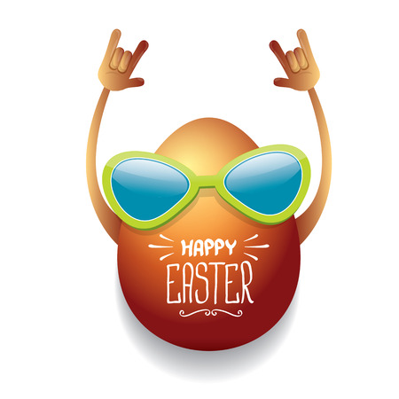 vector happy easter card with rock n roll egg