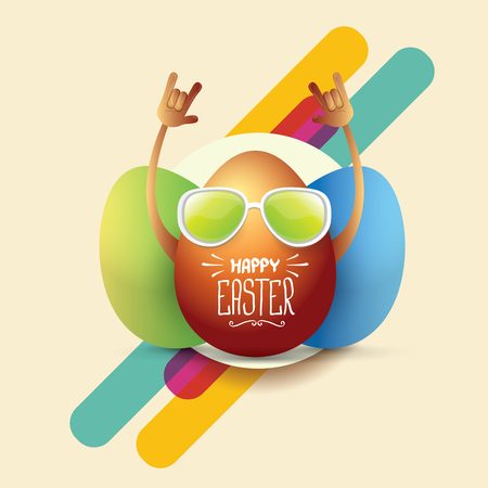 egg roll: vector happy easter card with rock n roll egg