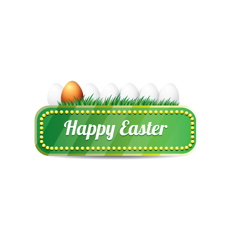 golden egg: Easter vector green glossy button with easter egg
