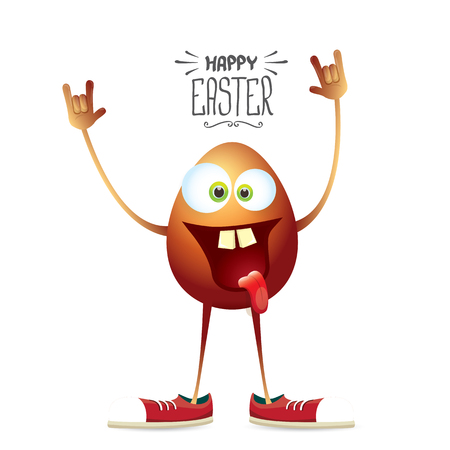 golden egg: vector happy easter card with rock n roll egg