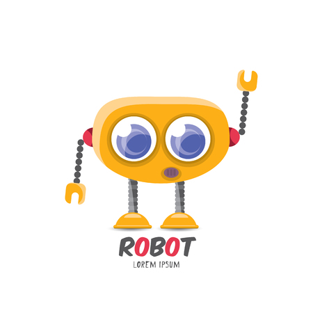vector cartoon cute flat robot icon