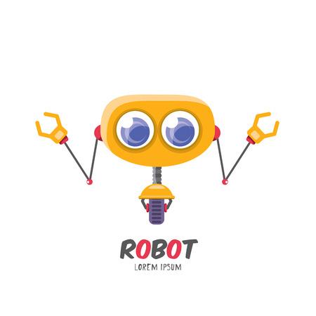 vector cartoon cute flat robot icon