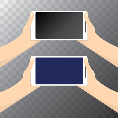 woman cellphone: vector Hand holding white smart phone