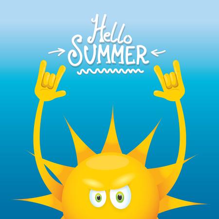 rockstar: Hello summer rock n roll poster summer party. Illustration
