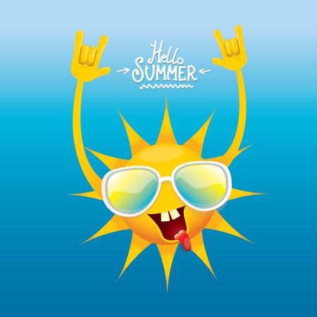 Hello summer rock n roll poster summer party. Vectores