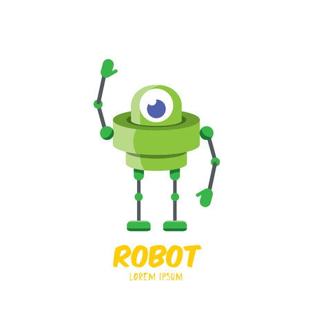 vector cartoon cute flat robot icon.
