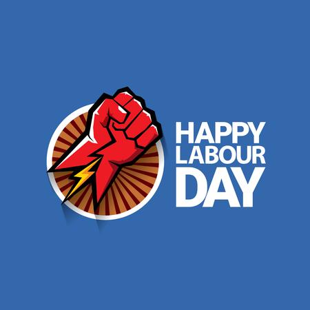 gewerkschaft: Glücklicher Arbeitstag Vektor-Label