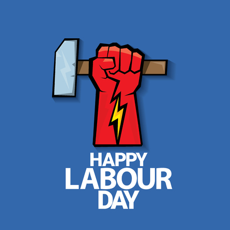 workers rights: Happy labour day vector label